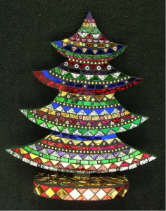 Multicolored Glass Mosaic Christmas Tree