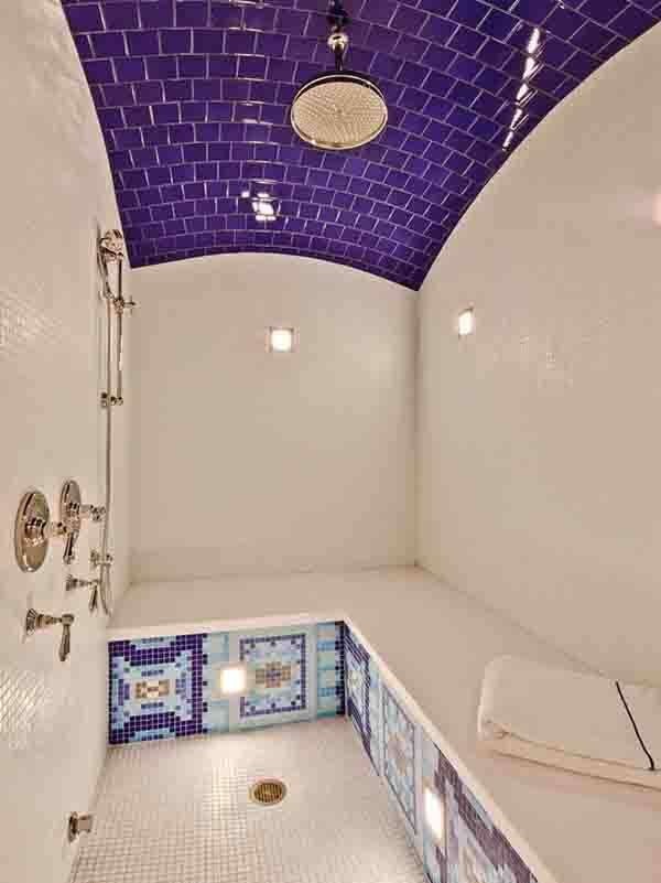 make sure to use either marble or glass tiles to prevent any damage due to high humidity and moisture mosaic ceiling