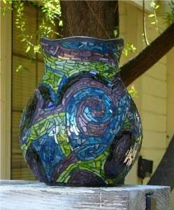 blue tiled mosaic flower vase