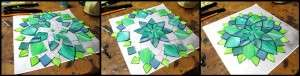 Kasia Polkowska Contemporary Stained Glass Mosaic Art Aqua Dhalia Flower Process