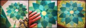 Kasia Polkowska Contemporary Stained Glass Mosaic Art Aqua Lotus Flower Process