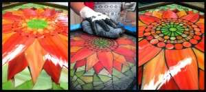 Contemporary Stained Glass Mosaic Art Orange Sunflower Process