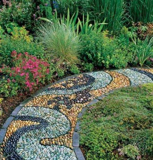 Must see outdoor landscape mosaic ideas mozaico blog - Garden pathway design ideas with some natural stones trails ...