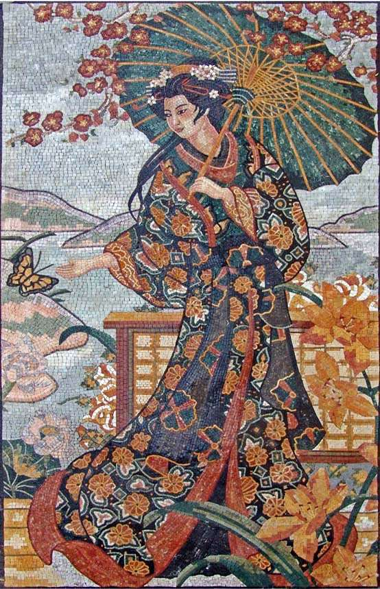 Colorful Geisha Wonderful figurative mosaic