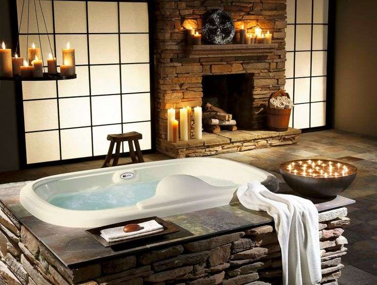Bathroom Tub with candles and chimney