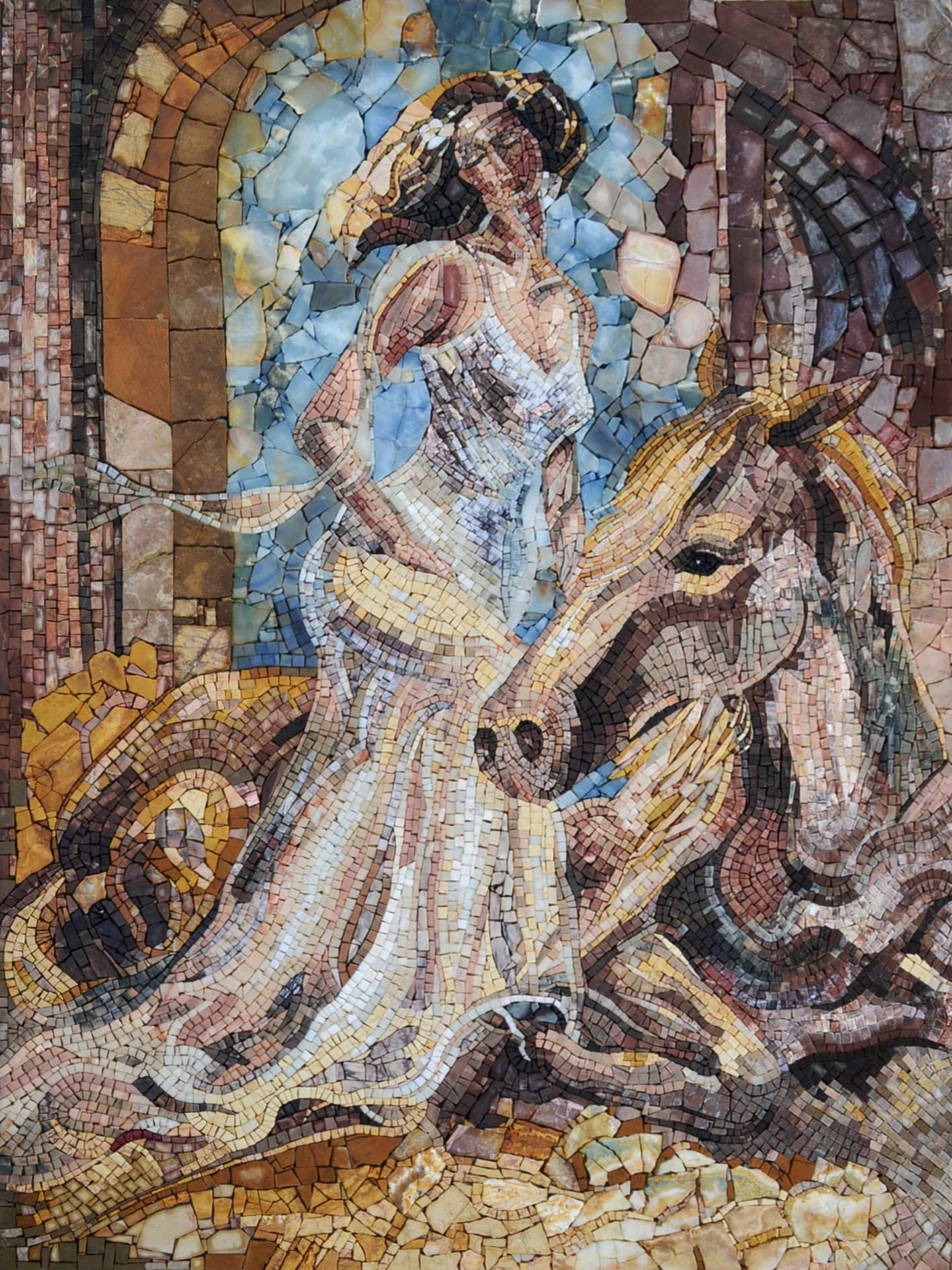 Mosaic Art Impressionism Image woman on horse