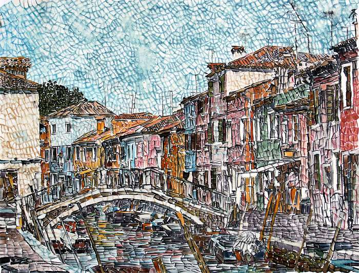 mosaic art bridge with buildings