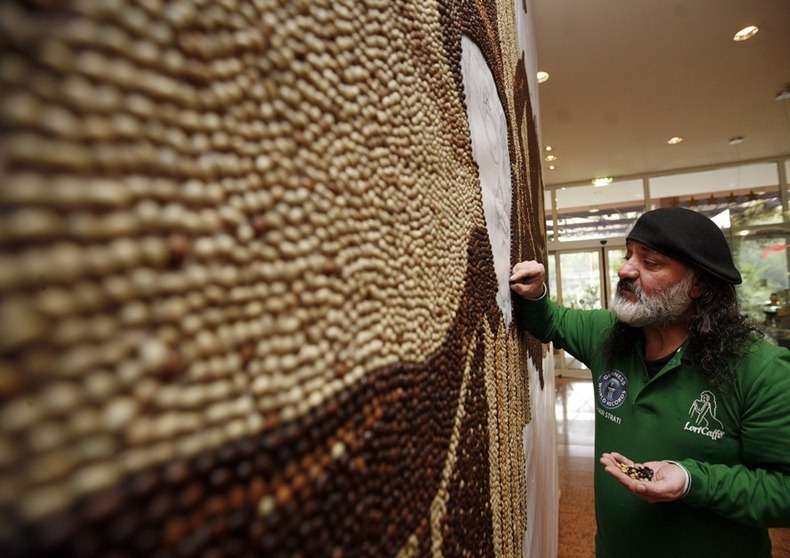 Mosaic art with coffee beans