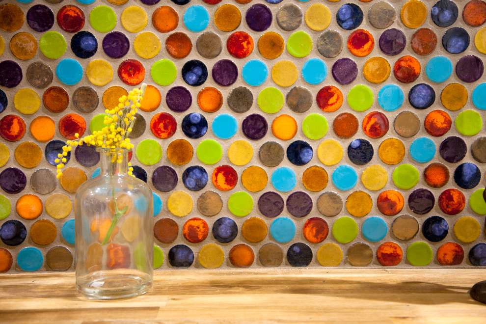 Impressive penny round tile in kitchen eclectic with multicolored tile