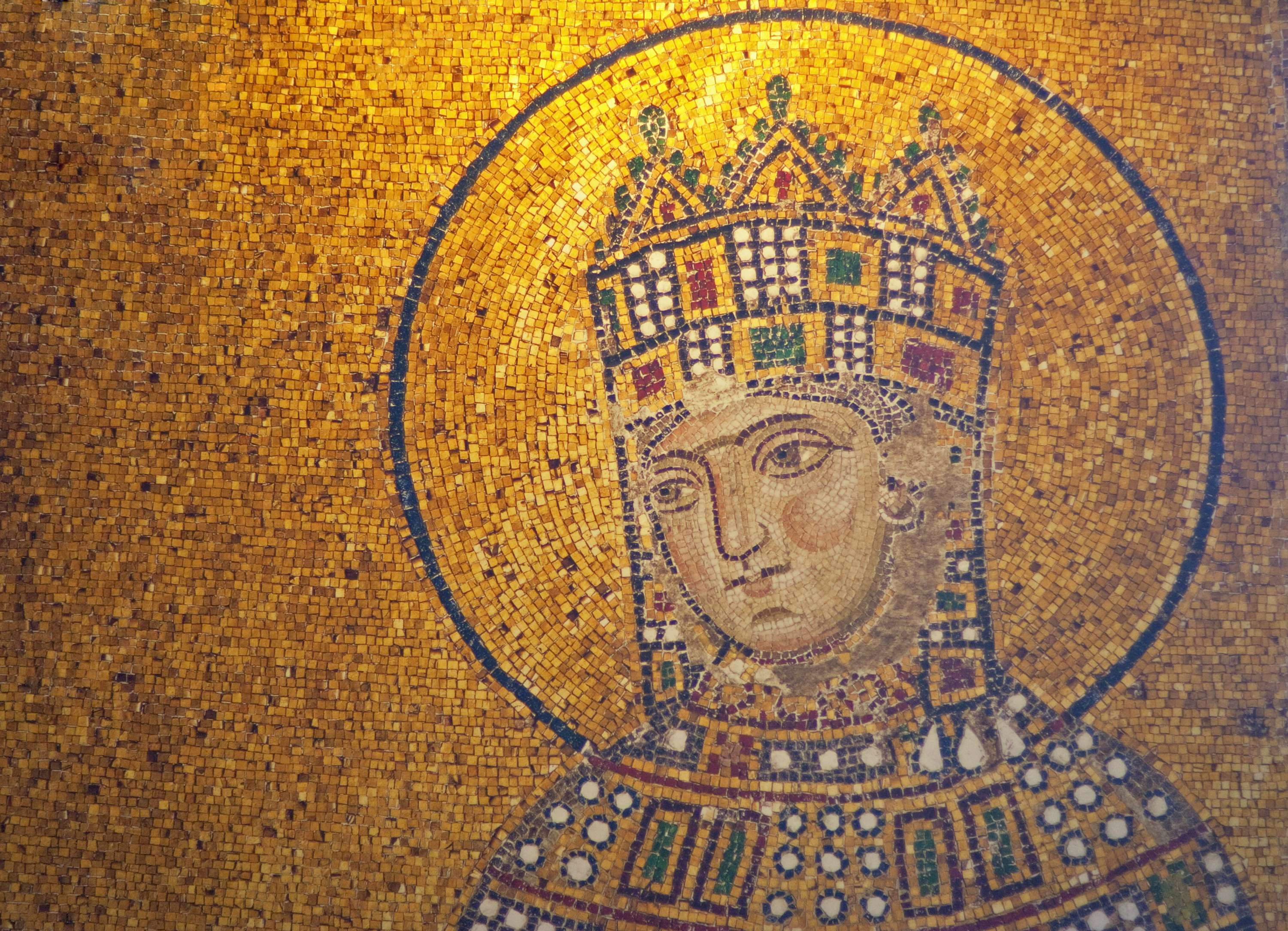 Detail of antique Empress Zoe Mosaic-Ravenna