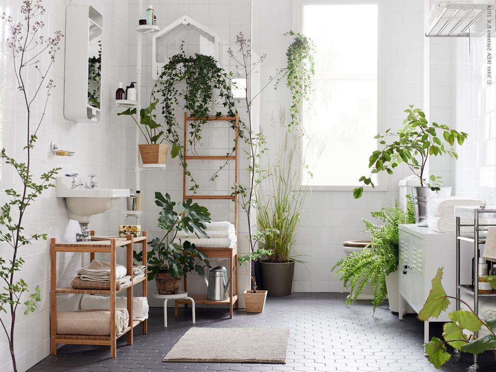 Natural-bathroom-interior-design-with-many-plants-indoor-ideas-and-white-vanity-also-wooden-towels-rack-under-the-floating-sink-as-well-small-rug-on-hexagonal-gray-tile-flooring