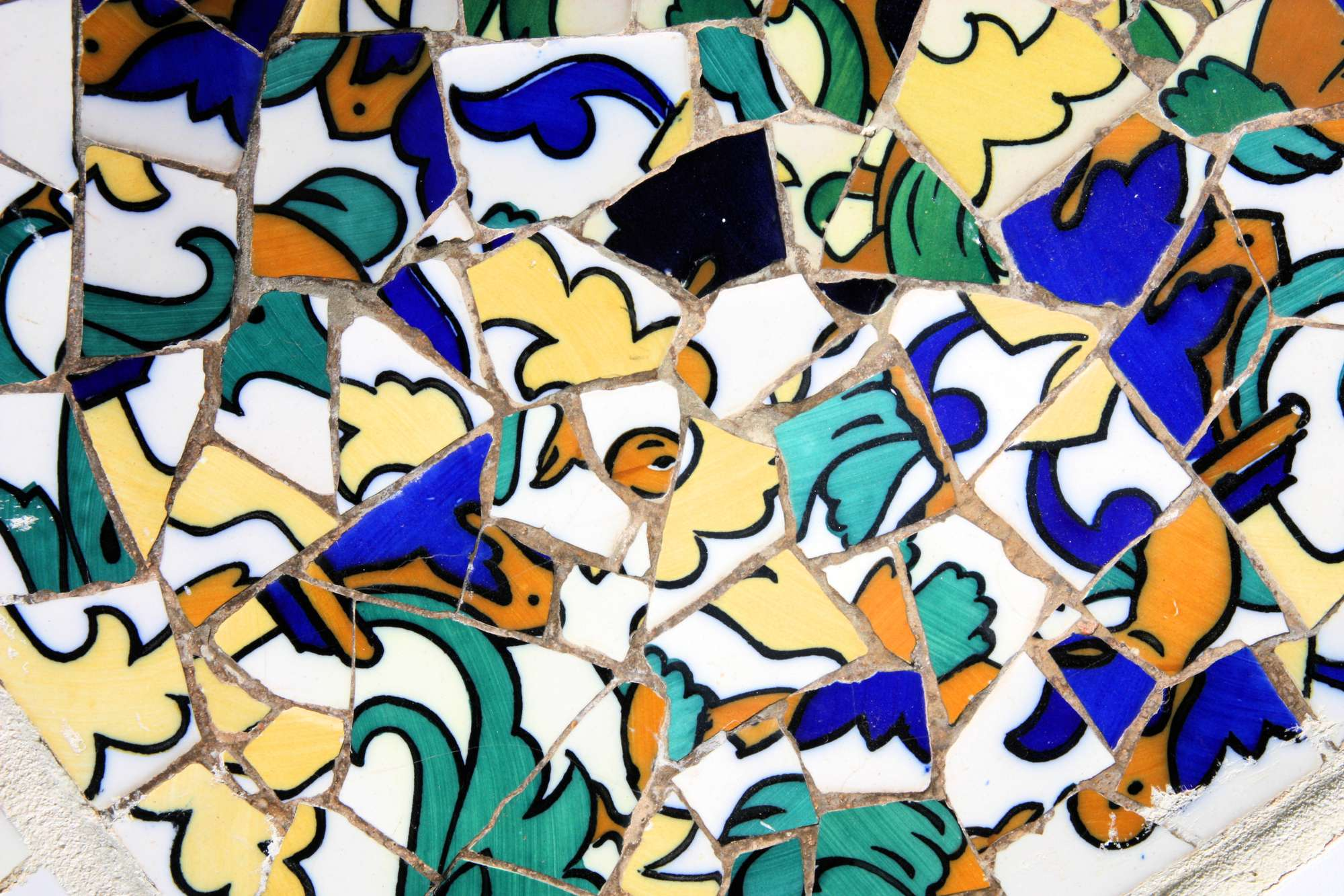 mosaic in Antoni Gaudi's Park Guell