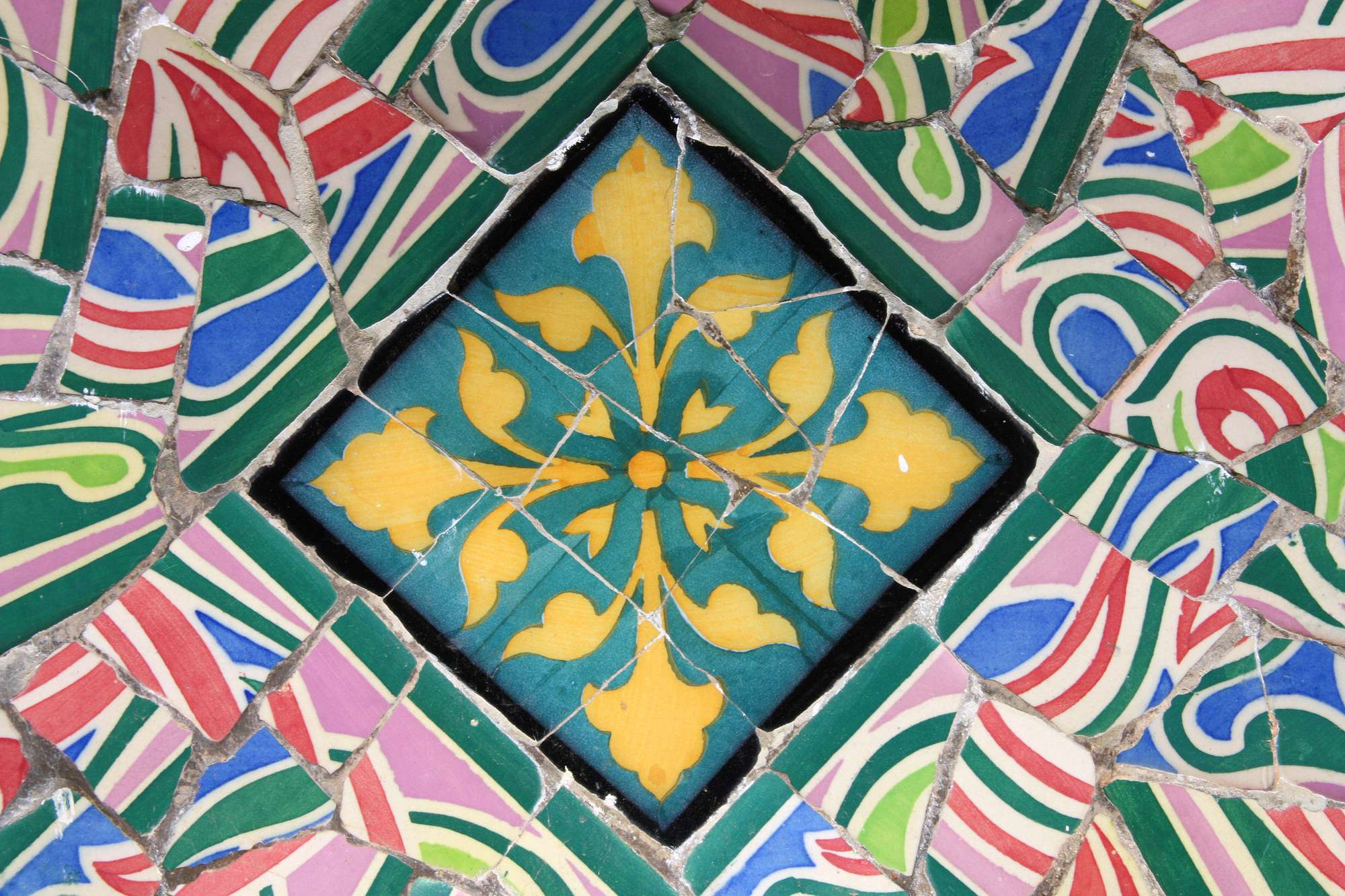 mosaic in Antoni Gaudi Park Guell -