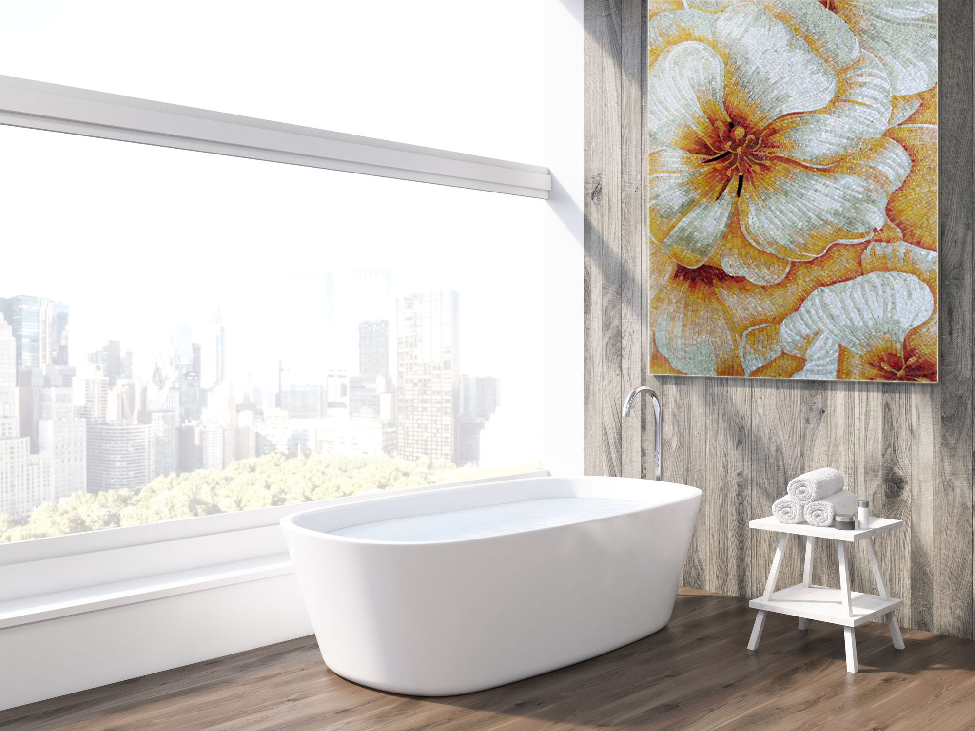 Bathroom-Mosaic-Art-Floral-