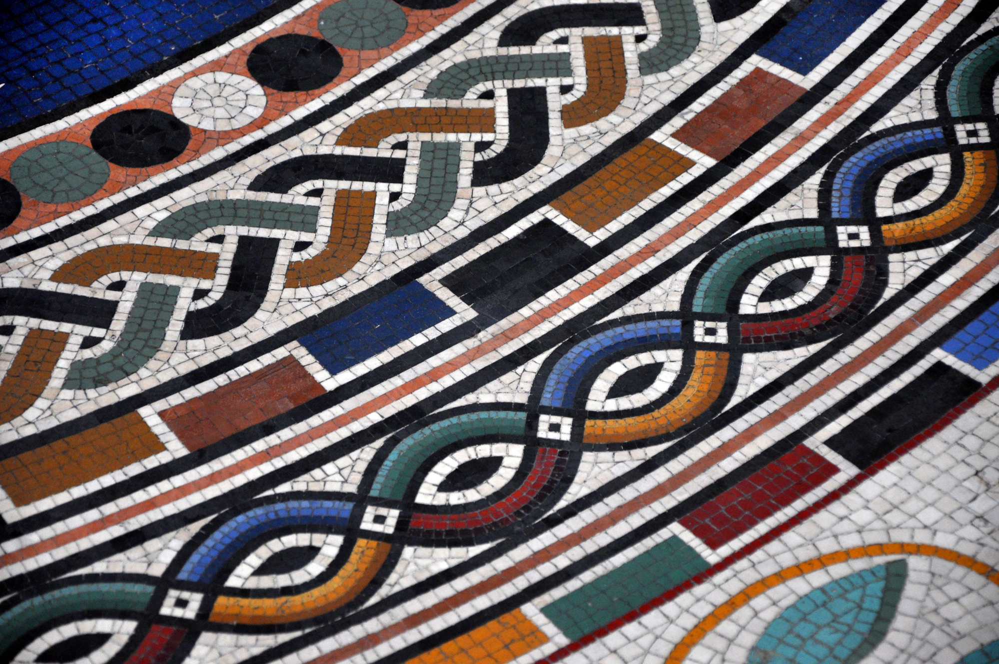 Detail of mosaic tiled floor