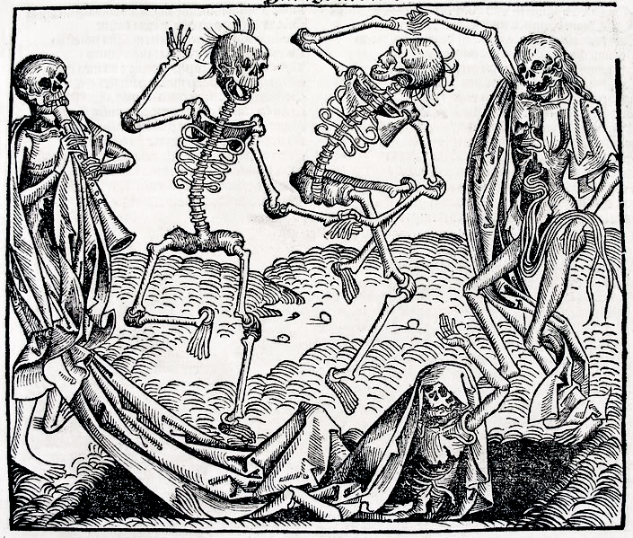 The Dance of Death (1493) by Michael Wolgemut, from the Liber chronicarum by Hartmann Schedel. Source Wikipedia