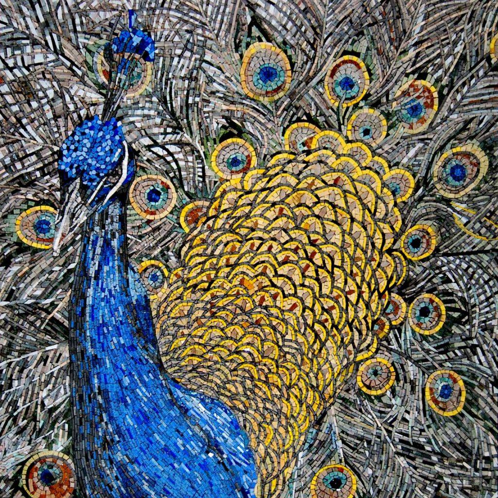 Mosaic design colorful peacock
