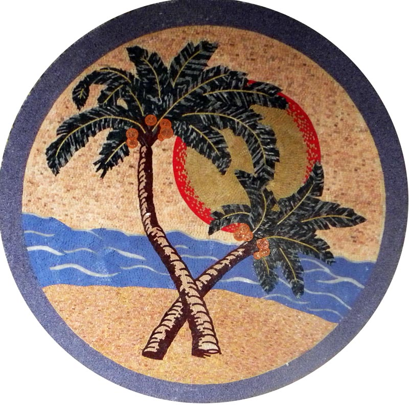 Medallion Mosaic Art - Palms on the Beach