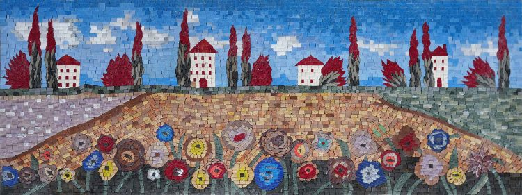 Artistic Colorful Scene Mosaic Artwork