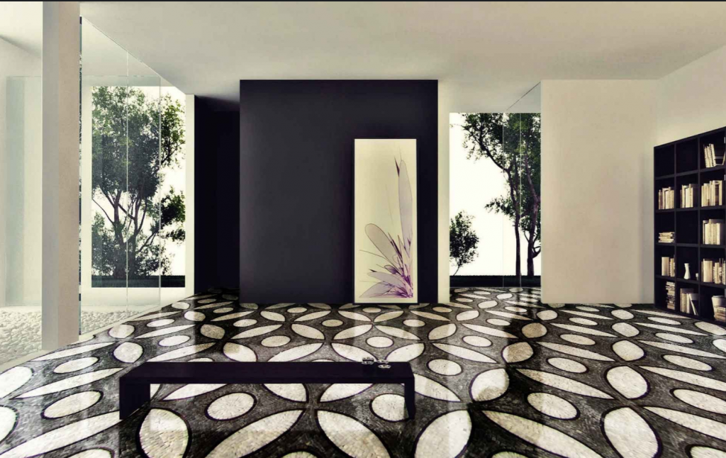 Black and white floor Mosaic tile pattern