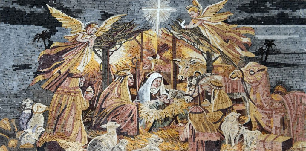 Nativity of Jesus Christ Marble Mosaic by Mozaico.