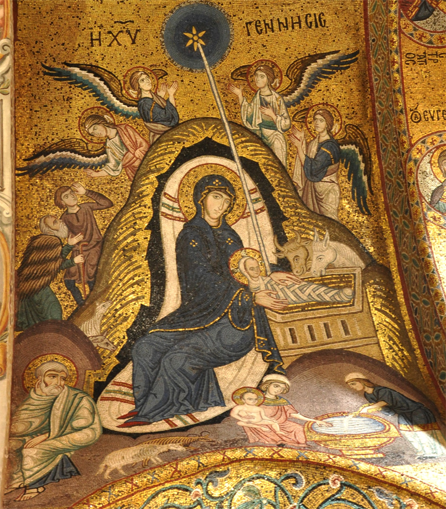 Icon of Nativity at Church of Santa Maria dell'Ammiraglio in Palermo, Sicily.