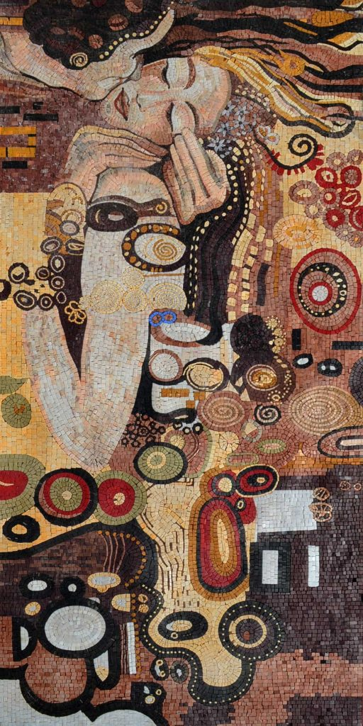 Klimt The Kiss Mosaic Reproduction by Mozaico