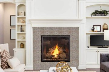 Mosaic tile art fireplace