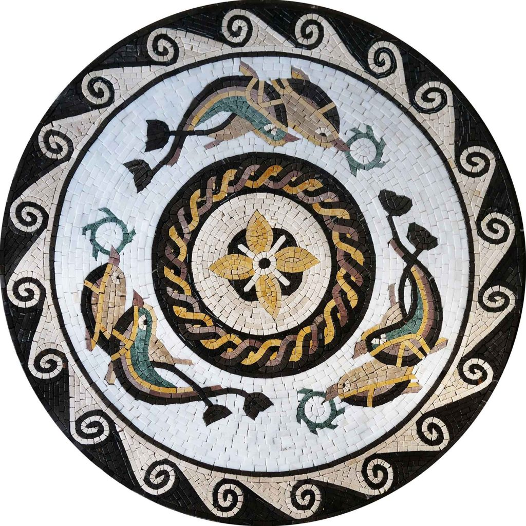 Swimming Fish Mosaic Medallion by Mozaico