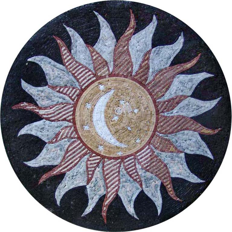 Najm - Moon Medallion Mosaic Art by Mozaico