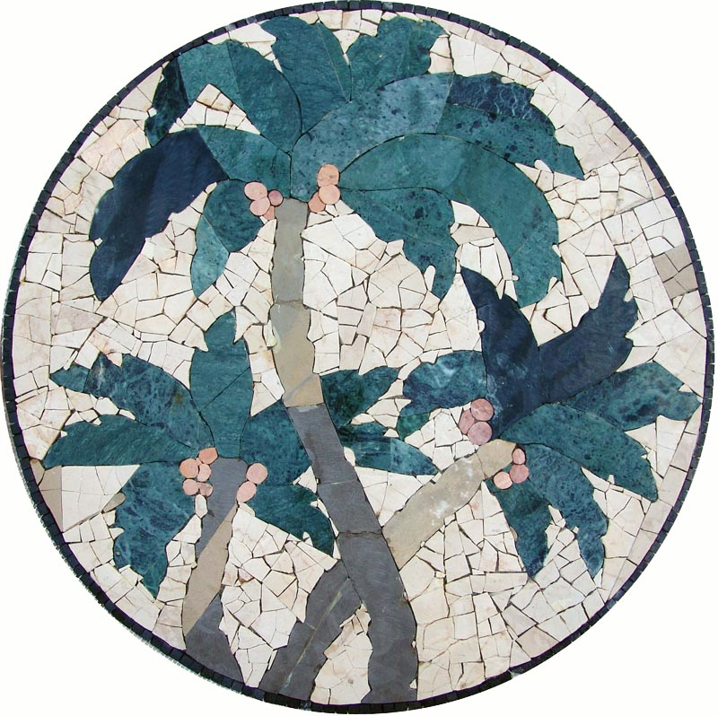 Palm Trees Mosaic Medallion by Mozaico