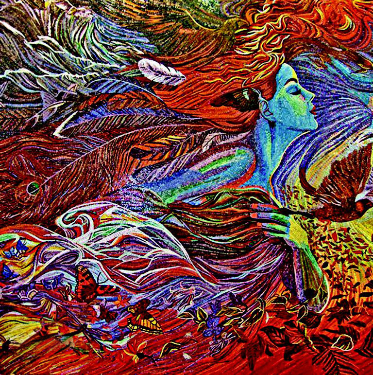 Lady Of Feathers - Abstract Mosaic Artwork by Mozaico