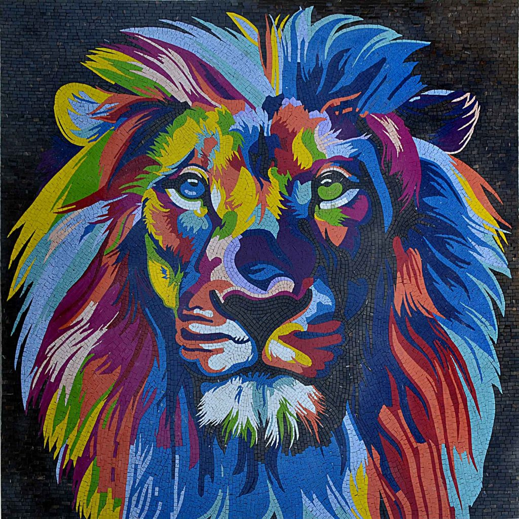 Colorful Lion Head Modern Mosaic Art by Mozaico
