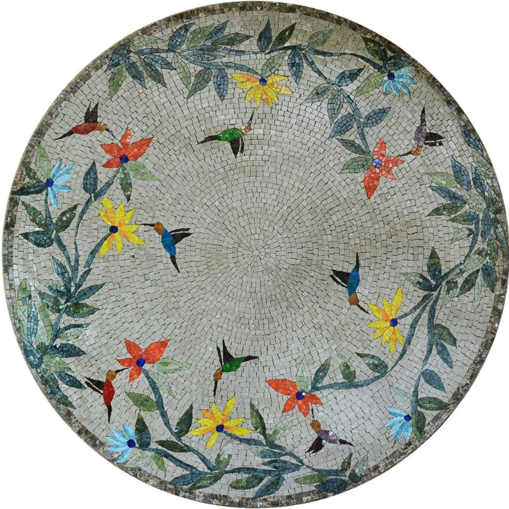 Birds & Trees Mosaic Medallion by Mozaico