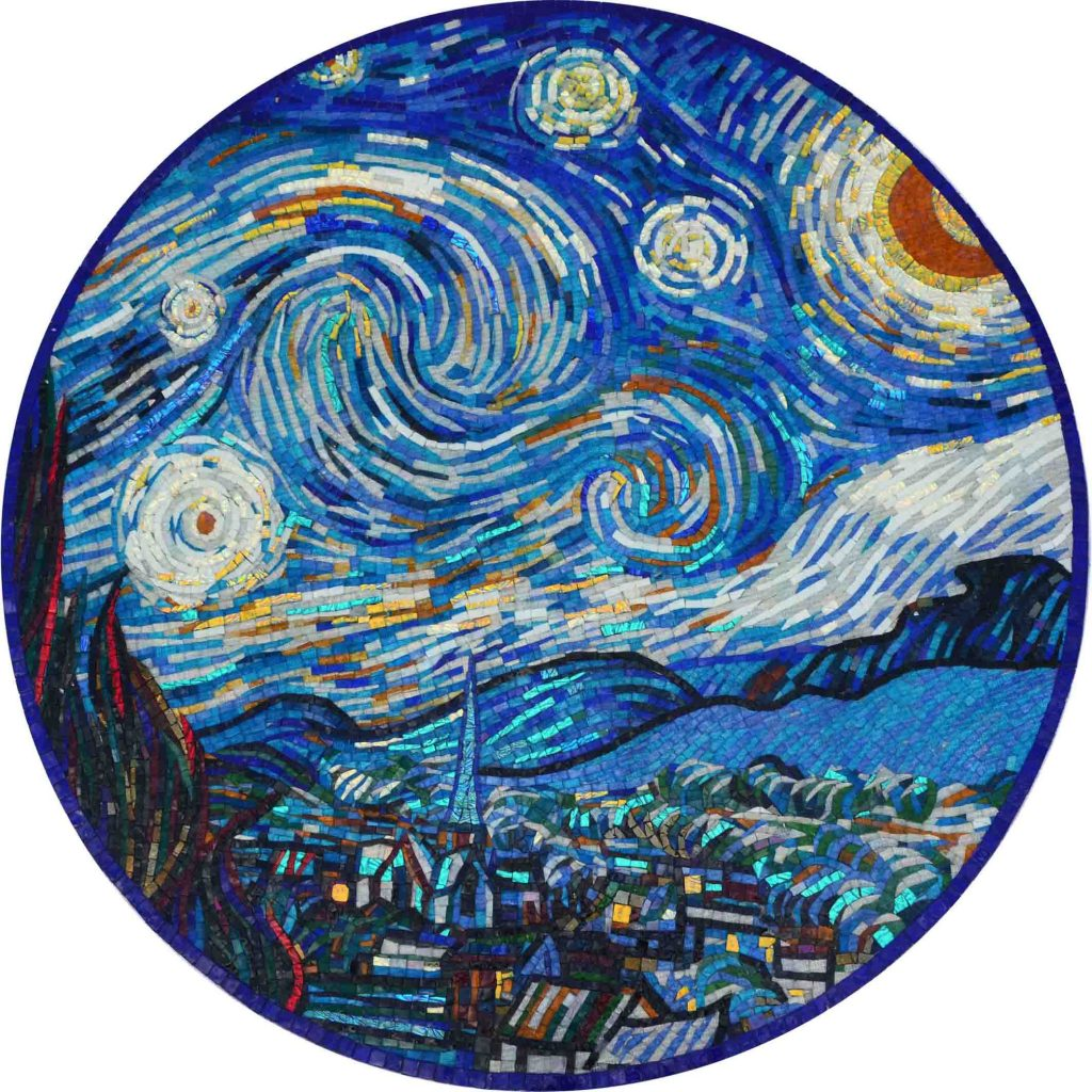 The Starry Night Mosaic Medallion by Mozaico