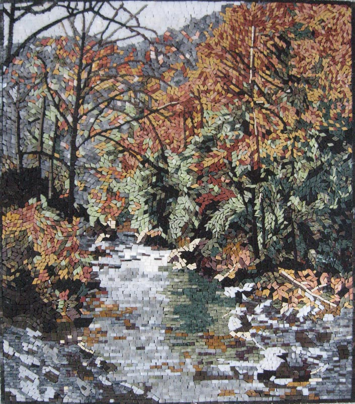 River Side Forest Mosaic Landscape by Mozaico