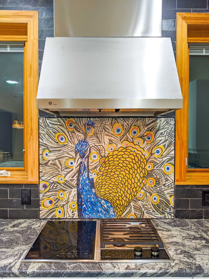 Colorful Peacock Mosaic Design by Mozaico