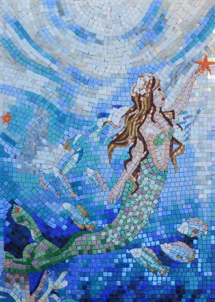 Mermaid Reaching for the Star Glass Mosaic by Mozaico