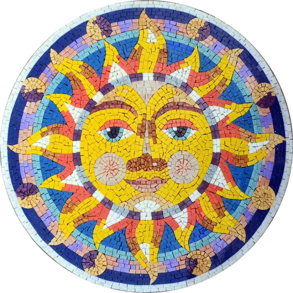 Psychedelic Sun Mosaic Artwork by Mozaico
