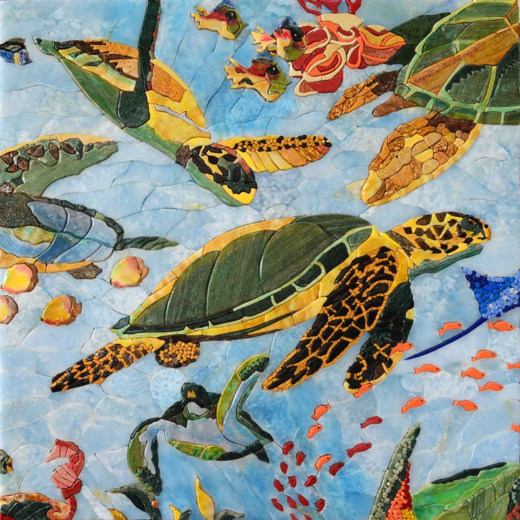 Sea Turtles and Fish Petal Mosaic by Mozaico