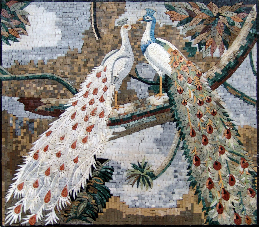 Peafowls in Love Mosaic | Valentine's Day: Celebrating the Day of Love through Mosaics | Mozaico