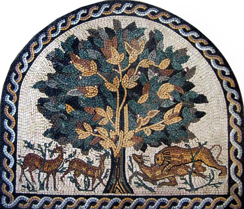 Biblical Tree of Life Mosaic Reproduction by Mozaico