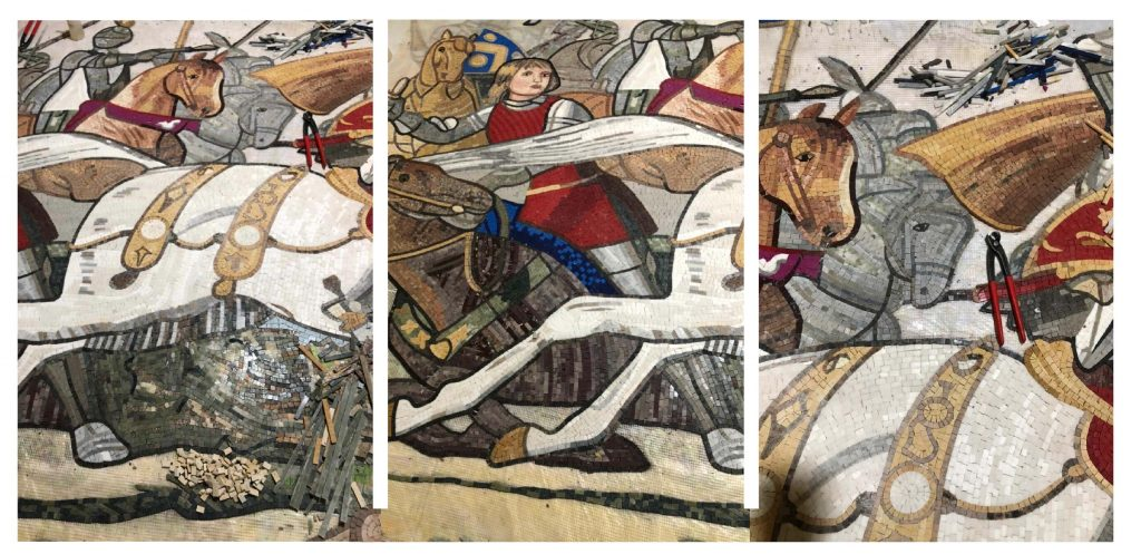 The Battle of Bosworth Mosaic Reproduction in the Making    Mozaico