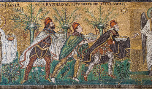 6th Century mosaic art of the Three Magi from the Sant'Apollinare Nuovo Church in Ravenna, Italy (Image Source: Pinterest)