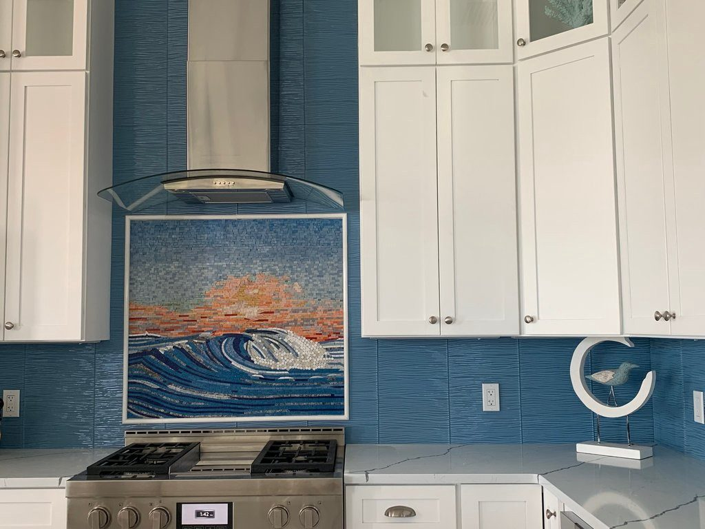 Wave Mosaic With Sunset Hues — Mozaico