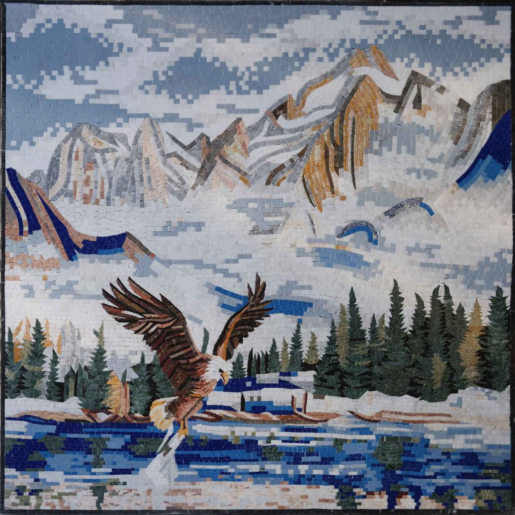 Rising Eagle in the Mountains Mosaic Mural - Source: Mozaico